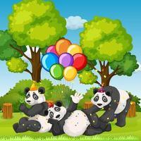 molti panda in tema di festa sullo sfondo della foresta di natura vettore