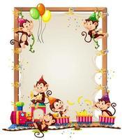 modello di cornice in legno di tela con scimmie in tema di festa isolato