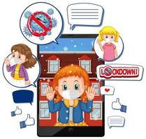 videochiamata tablet su blocco e corona virus con icona di social media su sfondo bianco