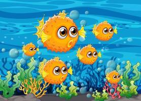 molti pesci esotici personaggio dei cartoni animati sullo sfondo sott'acqua