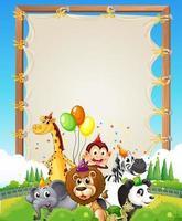 modello di cornice in legno di tela con animali selvatici in tema di festa sullo sfondo della foresta