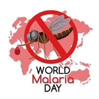 logo o banner della giornata mondiale della malaria senza zanzare sullo sfondo della mappa del mondo