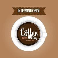 banner della lettera della giornata internazionale del caffè