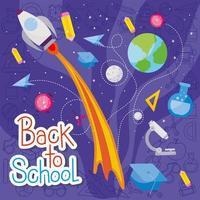razzo e set di icone di ritorno a scuola