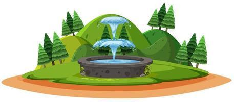 fontana nella foresta in stile cartone animato cartone animato su sfondo bianco