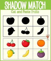 trova l'ombra corretta, il foglio di lavoro della corrispondenza dell'ombra per lo studente dell'asilo