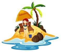 scena dell'oceano con una ragazza in piedi sulla spiaggia vettore