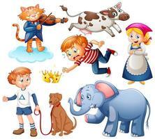 set di fantasia personaggio dei cartoni animati e animale isolato su sfondo bianco vettore