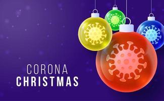 palline di natale lucide di coronavirus con cellule virali