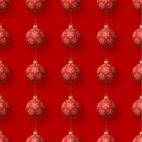 Natale che appende il modello senza cuciture degli ornamenti rossi del fiocco di neve