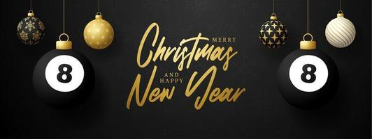 banner di vacanza di lusso con ornamenti appesi e palla da biliardo