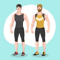 Illustrazione alla moda del carattere di vettore dell'istruttore di forma fisica di due uomini