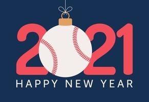 Tipografia di felice anno nuovo 2021 con ornamento da baseball