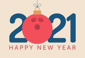 Tipografia di felice anno nuovo 2021 con ornamento di palla da bowling vettore