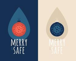 allegro e sicuro virus palla di Natale con goccia di disinfettante