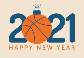 Tipografia di felice anno nuovo 2021 con ornamento di pallacanestro