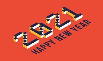 Tipografia isometrica di felice anno nuovo 2021 vettore