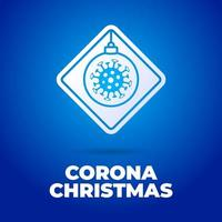 cartello stradale di natale coronavirus vettore