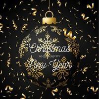 cartolina di Natale con palla realistica decorata e coriandoli