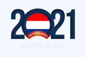 tipografia del nuovo anno 2021 con bandiera dei paesi bassi
