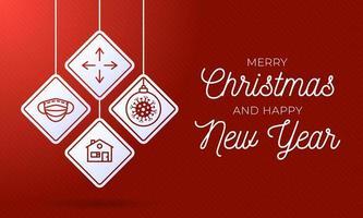 poster di ornamenti per segnali stradali di Natale coronavirus vettore