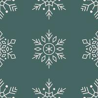 modello senza cuciture di arte di linea di fiocchi di neve sul verde vettore