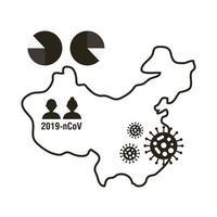 mappa cinese con icona infografica coronavirus
