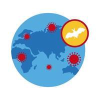 pianeta terra con l'icona di coronavirus