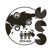mappa del mondo con l'icona di infografica di coronavirus