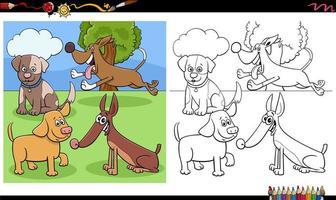 Gruppo di personaggi di cani e cuccioli da colorare pagina del libro vettore