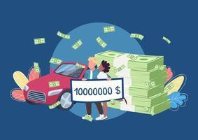 vincitori della lotteria in possesso di un grande assegno di denaro vettore