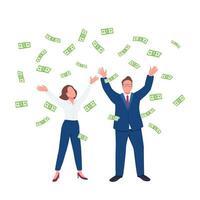 uomini d'affari che vomitano denaro vettore