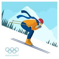 Illustrazione piana di vettore di salto di sci degli olimpiadi invernali piani della Corea