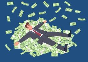 uomo di successo sdraiato sul denaro vettore