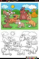 cartone animato, cani e cuccioli, gruppo, coloritura, libro, pagina vettore
