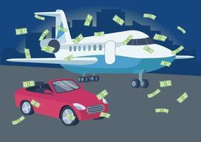 auto e aereo con pioggia di soldi vettore