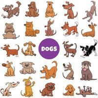 grandi set di cani e cuccioli dei cartoni animati vettore