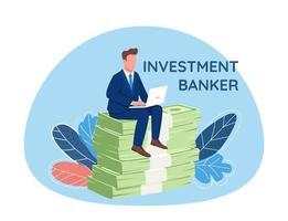 investitore seduto su un mucchio di soldi vettore