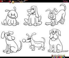 I personaggi dei cartoni animati del cane hanno impostato la pagina del libro da colorare vettore