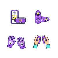 set di icone di colore di dispositivi di realtà virtuale vettore