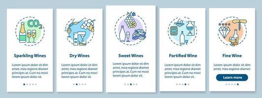 schermata della pagina dell'app per dispositivi mobili di onboarding di degustazione di vini vettore