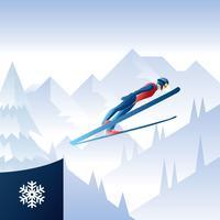 Vettore di illustrazione di salto con gli sci di salto con i sci