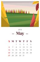 Maggio 2018 Paesaggio Calendario mensile vettore