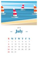 Luglio 2018 Paesaggio Calendario mensile vettore