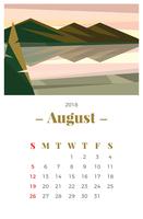Agosto 2018 Paesaggio Calendario mensile vettore