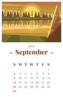 Settembre 2018 Paesaggio Calendario mensile vettore