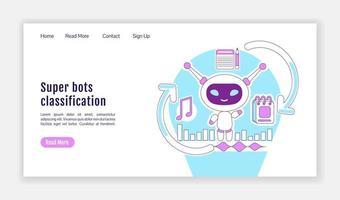 pagina di destinazione della classificazione dei super robot vettore