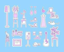 set di oggetti lineari viola stile di vita vettore