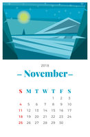 Calendario mensile di novembre 2018 vettore