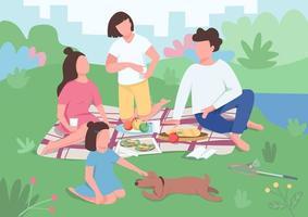 picnic in famiglia nel parco vettore